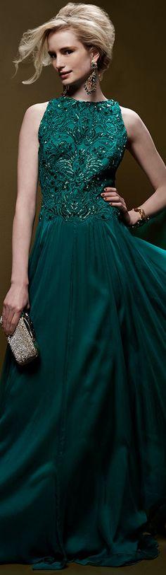 Tadashi Shoji ● Sleeveless Lace-Bodice Chiffon-Skirt Gown, Elm Green