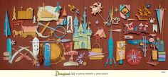 Seriously, if you like atomica, exotica, vintage Disney, or papercraft, you need to check out the work of Kevin Kidney and Jody Daily. They have my dream job and they're knocking it out of the park.     Disneyland '55 Giant Paper Sculpture by Kevin Kidney, via Flickr