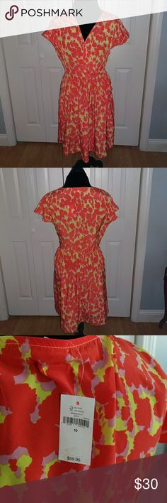 Gap Sun Dress Silky and comfy, shades of coral, pink and yellow. Stunning together.100% polyester. GAP Dresses Midi