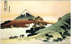 japanese painting sunset | Painting by Katsushita Hokusai of Mt. Fuji in the sunset.