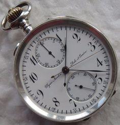 Ulysse Nardin Chronograph Rattrapante Pocket Watch Open Face Silver Case | eBay