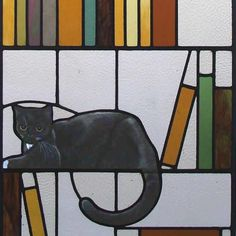 Stained glass cat in library