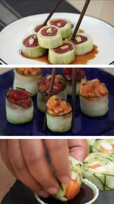 Sushi Rolls These aren't your plain, average cucumber rolls — these be pretty and fancy AF.These aren't your plain, average cucumber rolls — these be pretty and fancy AF. Cucumber Sushi Rolls, Cucumber Recipes, Sashimi Sushi, Salmon Roll Sushi, How To Roll Sushi, Easy Sushi Recipes, Healthy Sushi Rolls, Best Sushi Rolls, Sushi Recipes