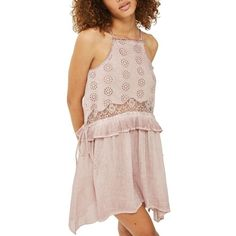 Women's Topshop Washed Cutwork Sundress ($58) ❤ liked on Polyvore featuring dresses, pink, flounce dress, lace ruffle dress, lace dress, pink frilly dress and pink ruffle dress