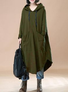 Casual women solid color loose long sleeve hooded dress how to wear best casual outfit ideas 2019 Trendy Dresses, Nice Dresses, Casual Dresses, Hooded Dress, Sweatshirt Outfit, Mode Hijab, Winter Dresses, Dress Winter, Casual Fall