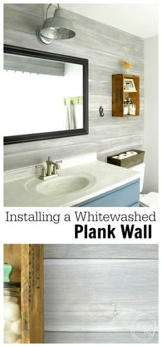 Budget Renovation: Install Your Own Planked Wall - Refresh Living A cheap and easy way to update a room is to add a plank ship-lap wall. This one was made with plywood and a whitewash technique. Plank Wall Bathroom, Master Bathroom, Small Bathroom, Home Renovation, Home Remodeling, Bathroom Remodeling, Plywood Walls, Plank Walls, Upstairs Bathrooms