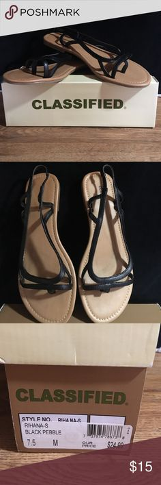 Classified Rihana sandal Sz 7.5M Black Pebble Classified Sandal... Color-Black Pebble... Style- Rihana.  Worn only a couple of times. EXCELLENT condition. Safely stored in original box. No scuffs or worn areas Classified Shoes Sandals