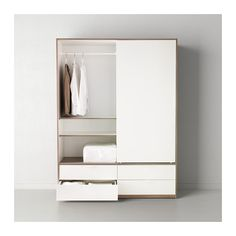 TRYSIL Wardrobe w sliding drawers IKEA Sliding doors allow more room for furniture because they don't take any space to open. Ikea Wardrobe Closet, Single Door Wardrobe, Wardrobe Drawers, Bedroom Wardrobe, White Wardrobe, Simple Wardrobe, Ikea Trysil, Ikea Pax, Ikea Sliding Door