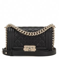 93dfb416f35f  Chanel Black Quilted Caviar Small Boy  Bag  Designerhandbags   Chanelhandbags