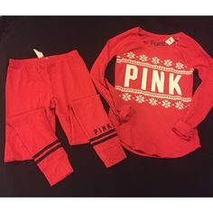 NWT Pink Sleep Set Brand new, both with tags, normally sold separately. Received as a gift and just don't really like the color on me! Really soft material and really cute! The top is a Medium and bottoms are Small.   No trades, price is firm. Thank you! PINK Victoria's Secret Tops