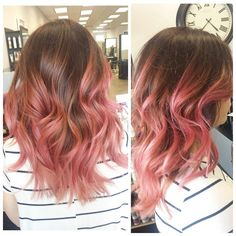 Rose pink balayage & chocolate-red base color I did on my client Isabella! Curled & styled with Oribe's ...
