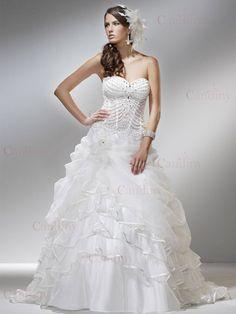 Frill Wedding Strapless Dress