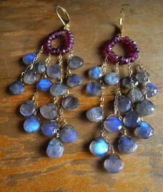 PHAT!!  Blue Fire Labradorite, Garnet & Gold Vermeil earrings (Denise) by DanaBarryDesigns