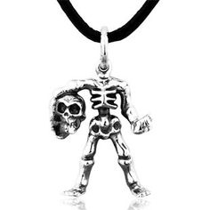 925 Sterling Silver Antiqued Punk Super Cool Skull With Head Men's Pendant