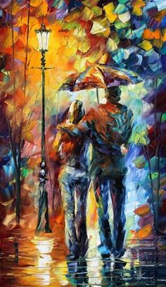 Couple in the park in the rain