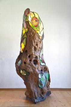 Olive Tree by Perdita's Glass Art Stained Glass Table Lamps, Stained Glass Panels, Stained Glass Projects, Stained Glass Patterns, Stained Glass Art, Driftwood Sculpture, Driftwood Art, Mosaic Art, Mosaic Glass