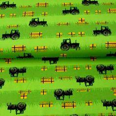 Baumwolljersey - Jersey Stoff Green Power-Trecker mit Strohballen– KATINOH - Traktor und Stroh Feld limitierte Auflage Katinoch für Jungs