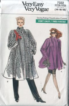 very easy very vogue 7322, vintage 80s coat pattern UNCUT, sizes 14-16-18, bust 36-38-40 FREE SHIPPING  to canada and usa