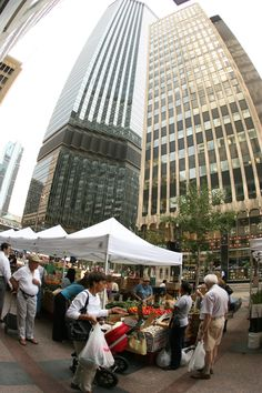 Nicollet Mall in Minneapolis hosts a farmer's market from April - Oct featuring fresh produce and other locally made goods.