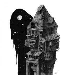 저택의 밤 - 파인아트, 드로잉, 일러스트