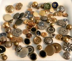 Vintage Metal BUTTONS Antique Metal Buttons by happenstanceNwhimsy, $15.00
