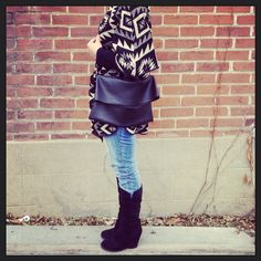 Large leather messenger bag and clutch in black on Etsy, $145.00
