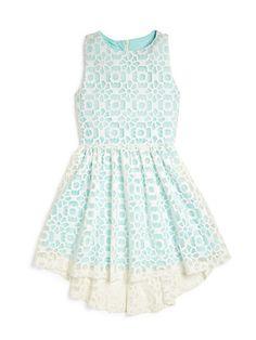 Elisa B - Girl's Lace Overlay High-Low Dress