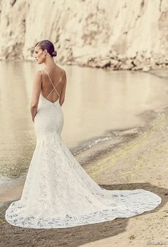 mikaella spring 2017 bridal double thin strap sweetheart neckline full embellishment elegant fit and flare wedding dress cross strap back chapel train (2103) bv -- Mikaella Bridal Spring 2017 Wedding Dresses