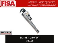 """LLAVE TUBO 24"""" 31105. 40% más ligero que otros modelos de hierro fundido- FERRETERIA INDUSTRIAL -FISA S.A.S Carrera 25 # 17 - 64 Teléfono: 201 05 55 www.fisa.com.co/ Twitter:@FISA_Colombia Facebook: Ferreteria Industrial FISA Colombia"""