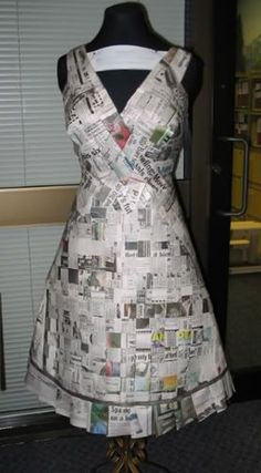 newspaper dress - woven strips