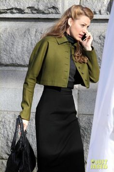 Blake Lively wearing Gucci Pre-Fall 2013 Cropped Jacket Gucci Pre-Fall 2013 Black Dress. Blake Lively On the Set of Age of Adaline in Vancouver - March 19.