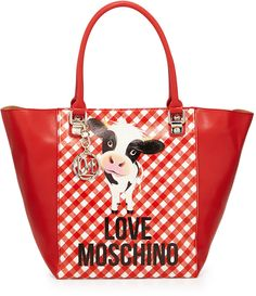 Love Moschino Cow Gingham-Print Faux-Leather Tote Bag, Red