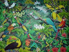 bali lukisan ubud - Google Search Bali Painting, Forest Painting, Jungle Tattoo, Jungle Art, Landscape Paintings, Art Paintings, Painted Shells, Egg Art, Tropical Birds