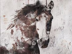 SALE Gorgeous Horse. Large Brown Rustic Horse Canvas by irenaorlov