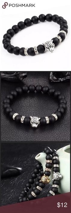 DF13 Natural Lava Stone Leopard Bracelet ‼️ PRICE FIRM UNLESS BUNDLED WITH OTHER ITEMS FROM MY CLOSET ‼️   Lava Stone Leopard's Head Bracelet  Retail $24  Fabulous bracelet!  Black natural smooth lava stone with a silver leopard head accent.  Also available with a gold accent. Please check my closet for many more items including designer clothing, shoes, handbags, scarves and much more! Jewelry Bracelets