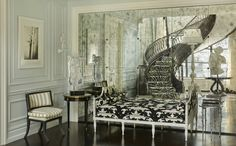 Behind the Candelabra: Homes, Rooms and Decor Liberace Would Love Behind The Candelabra, Mirror Stairs, Animal Print Decor, Mirrored Furniture, Mirrored Walls, Farmhouse Chic, House Rooms, Living Rooms, Cool Rooms