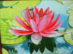 Lotus  original oil painting on stretched canvas by ArtByTatianaZ, $325.00