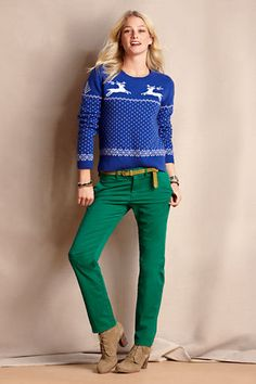 Women's Lambswool Reindeer Sweater from Lands' End Canvas