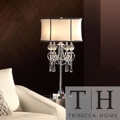 TRIBECCA HOME Hyland 32.50 inches Crystal Table L& by Tribecca Home & TRIBECCA HOME Noble 3-light Chrome Crystal Silk Shade Table Lamp ... azcodes.com