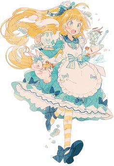 alice, anime, and illustration image Anime Chibi, Kawaii Anime, Kawaii Art, Anime Style, Anime Art Girl, Manga Art, Anime Girls, Pretty Art, Cute Art
