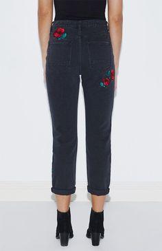 Valentine Black Floral Embroidered Mom Jeans