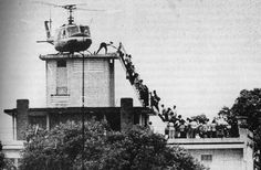 Fall of Saigon, fleeing from Tet Offensive at US Embassy January 1968.(Actually Saigon fell at the end of April in'75...that's this picture NOT the TET offensive!)