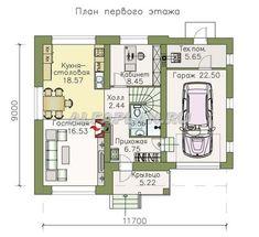 План 1 (зеркальный) Catalog, House Plans, Floor Plans, House Design, How To Plan, Architecture, Home, Blueprints For Homes, Home Plans