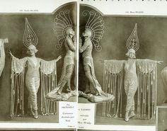 La Revue des Folies Bergere, Costumes designed by Erte (Romain de Tirtoff). Vintage Trends, Vintage Images, Vintage Art, Vintage Costumes, Vintage Outfits, Vintage Fashion, Cabaret, Stilt Costume, Folies Bergeres