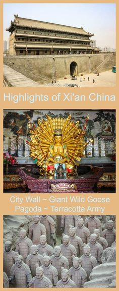 Highlights of Xian China include the City Wall, the Giant Wild Goose Pagoda and temple, and the army of the terracotta warriors. Read the article to see more images. via @Rhondaalbom #chinatraveling