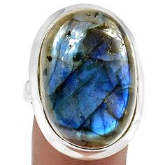 Blue Fire Labradorite 925 Sterling Silver Ring Jewelry s.9 BFLR149