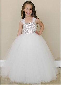 Angelic Multi Layered Tulle Flower Girl Dresses with Rhinestone and Sequin Bodice