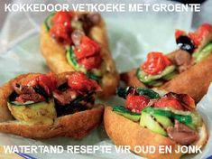 Kokkedoor-resept: Vetkoek me groente. South African Recipes, Ethnic Recipes, Snack Recipes, Snacks, Canapes, Bruschetta, Food Truck, Food Inspiration, Hamburger