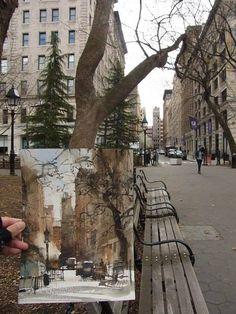 Chien Chung-Wei plein air at New York Washington Park