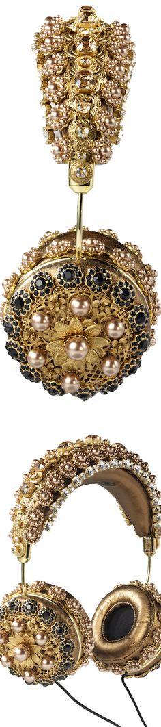 Dolce & Gabbana Embellished Bronze Leather Headphones
